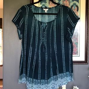 5 for $25 Sonoma Turquoise Pintuck Tassel Tee New